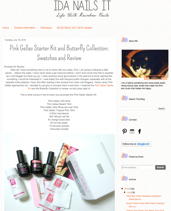 Pink Gellac starterset & Butterfly review by Ida Nails It