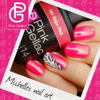 Pink Gellac Nail Art - Fancy Zebra Nail Art