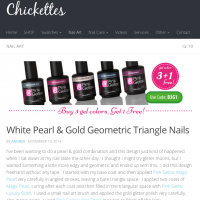 Pink Gellac Review by Chickettes |Gold Glitters nail art