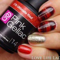Pink Gellac review by Love Life Lacquer| Plaid Nail Art